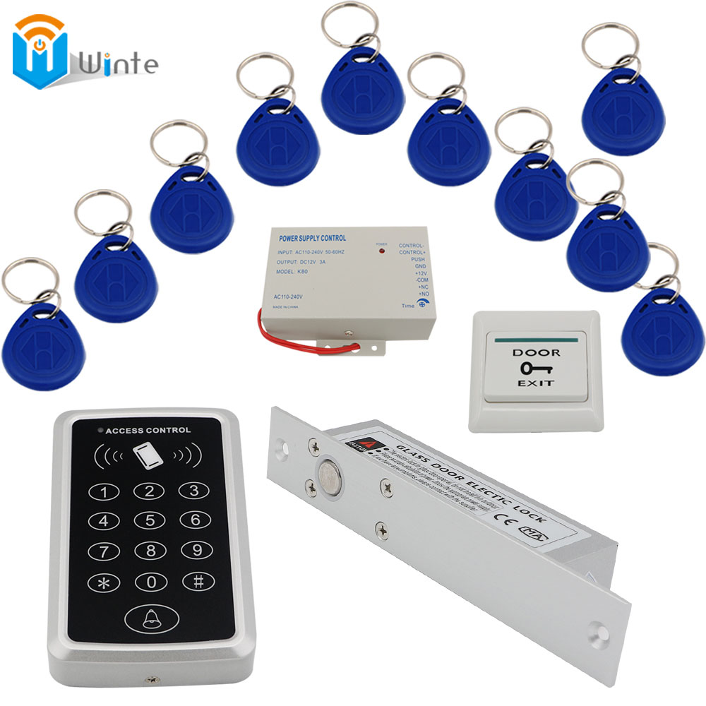 Access Control Door system RFID Keychain card+ Power supply+Electric Door Lock+119 rfid Card Reader+exit button DIY KIT Winte(China (Mainland))