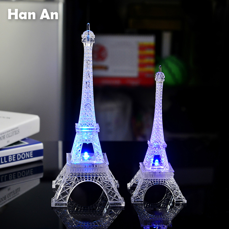 Paris Eiffel Tower Light 3 types 7 colors acrylic toys home night light colorful children's toys family present holiday gift(China (Mainland))