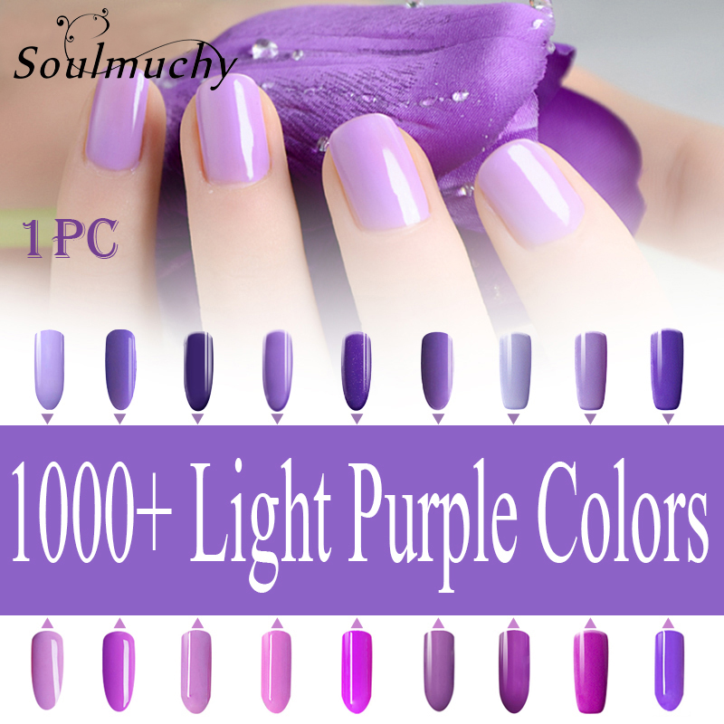 SOULMUCHY 10ml Nail Polish Lacquer UV LED Lamp Drying Magic Light Purple Color Top Base Coat Needed Soak-off Gel Nail LED UV Gel(China (Mainland))