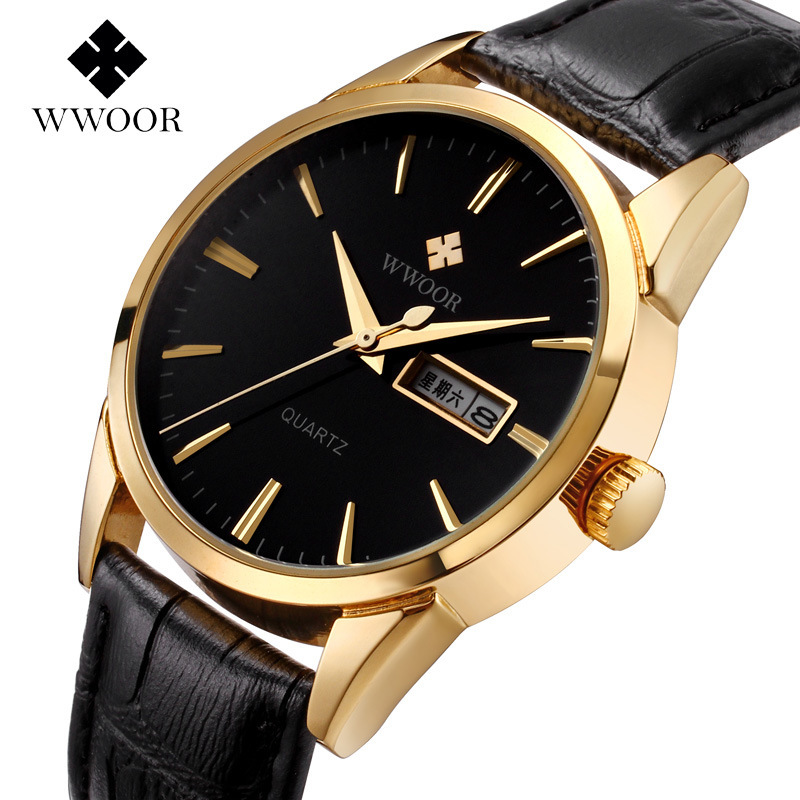 WWOOR Brand Men Wristwatches Leather Strap Business Casual ...