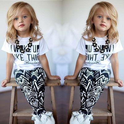 Fashion Children Clothing Baby Girls Stripe I Woke Up Like This Kids shirt and Pants Children Set 2 to 7Y