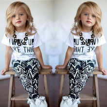 Fashion Children Clothing Baby Girls Stripe I Woke Up Like This Kids shirt and Pants Children Set 2 to 7Y