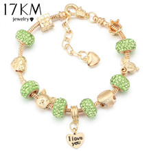 17KM 2016 Jewellery European Crystal Charm Beads Bracelets For Women Vintage Gold Plated Glass Heart Bangles DIY Pulseras(China (Mainland))