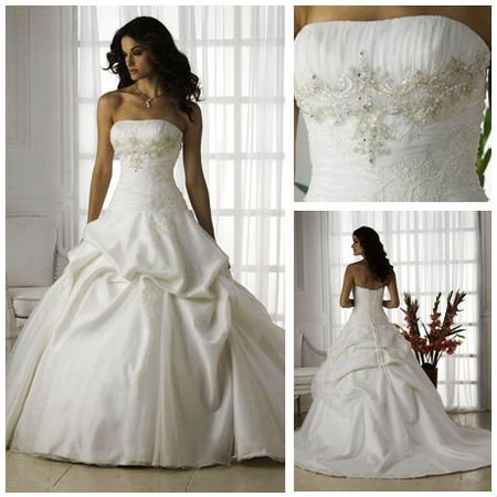 Free shipping mw2137 fantastic strapless beaded organza for Wedding dress beading patterns