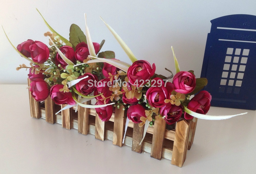 Natural garden wooden fence 30cm fake flower set artificial flowers arrangement home wedding decoration  -  Sweet Fashion Home store