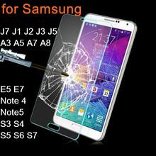 Tempered Glass For Samsung Galaxy J7 J1 J2 J3 J5 A3 A5 A7 A8 E5 E7 S3 S4 S5 S6 S7 Screen Protector Cover Note 4 Note5 Guard Film(China (Mainland))