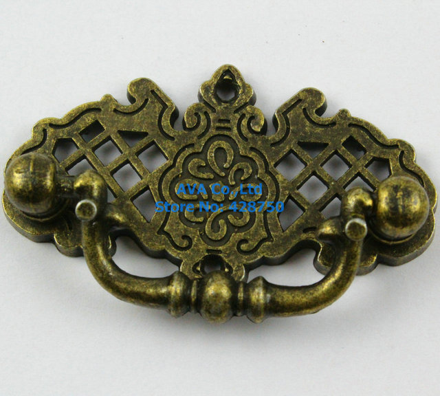 4 Pieces Antique Brass Jewelry Box Handle 67x38mm