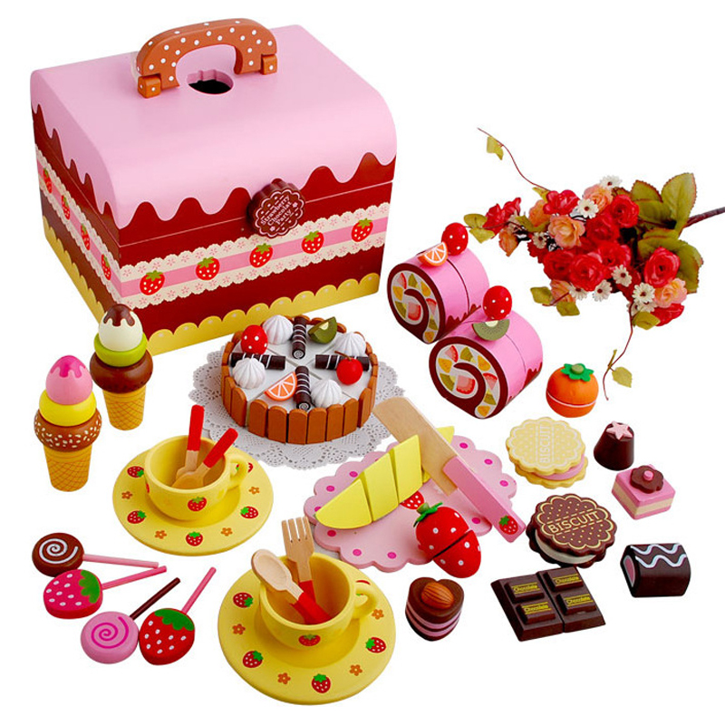 Buy wooden kitchen toys mother garden for Kitchen set cake