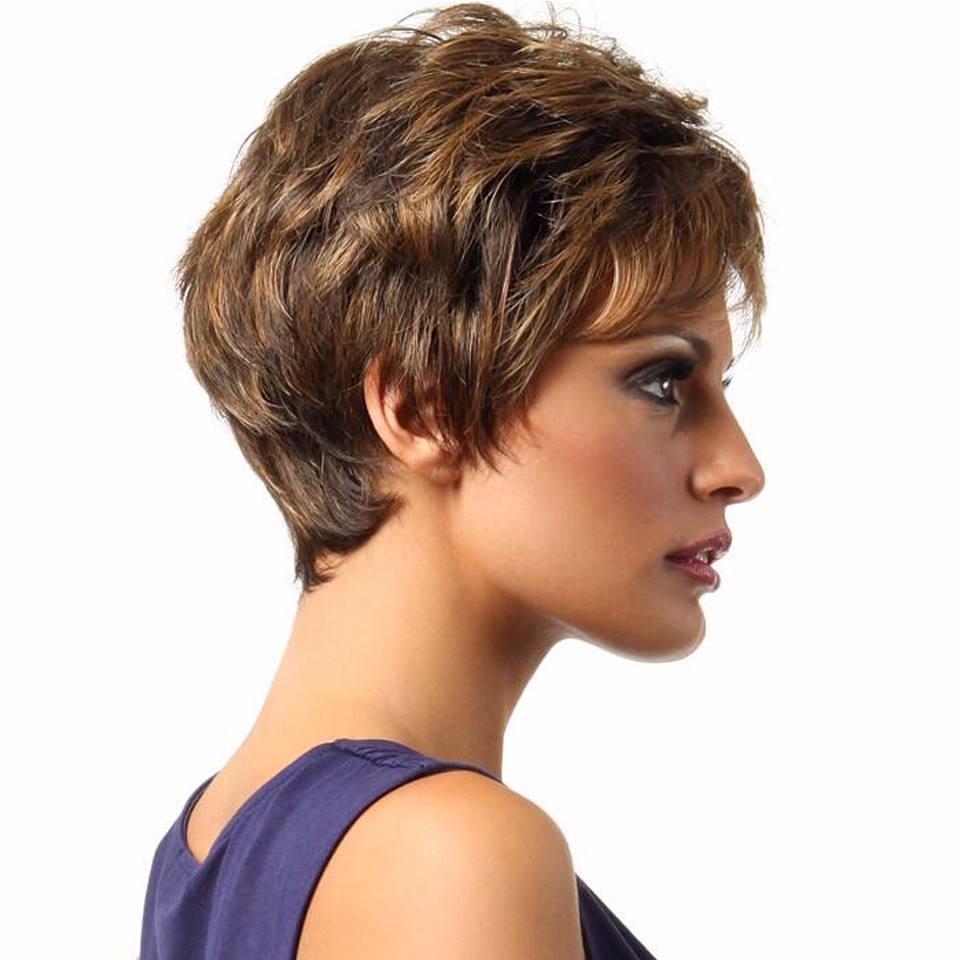 Synthetic wigs peruca short brown wig natural cheap hair wig real hair afro american wigs