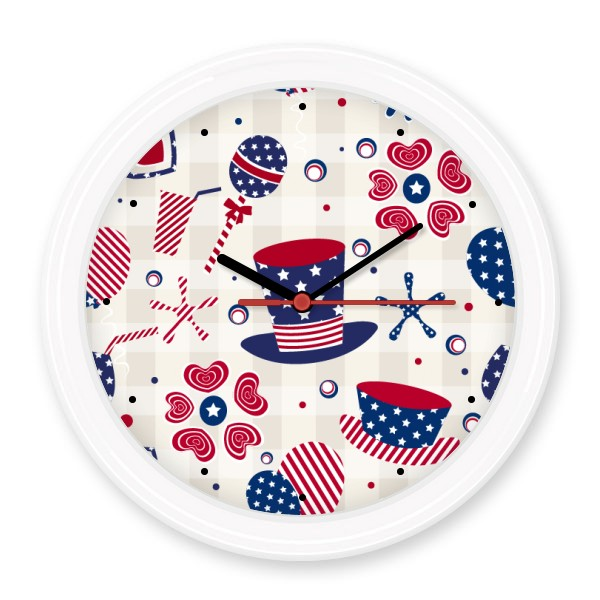USA America Hat Drink Love Heart Firework Festival Non-ticking Round Wall Decorative Clock Home Decal Wedding Decoration