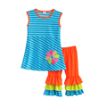 Children Girls Kids Clothing Sets Flower Stripe Decoration Round Neck Sleeveless Blouse And Pants Children Clothes
