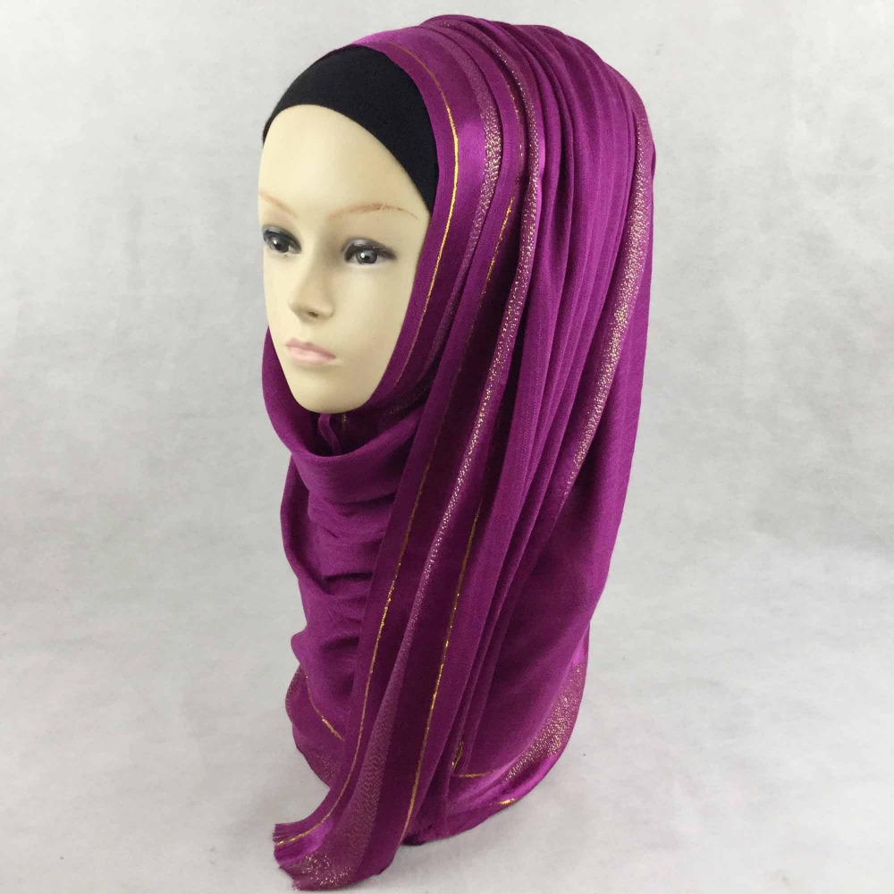 LADIES PLAIN GLITTER SATIN BORDER VISCOSE HIJAB MAXI WRAP SHAWL SCARF,23 colors for your choice,Free Shipping,PH019(China (Mainland))