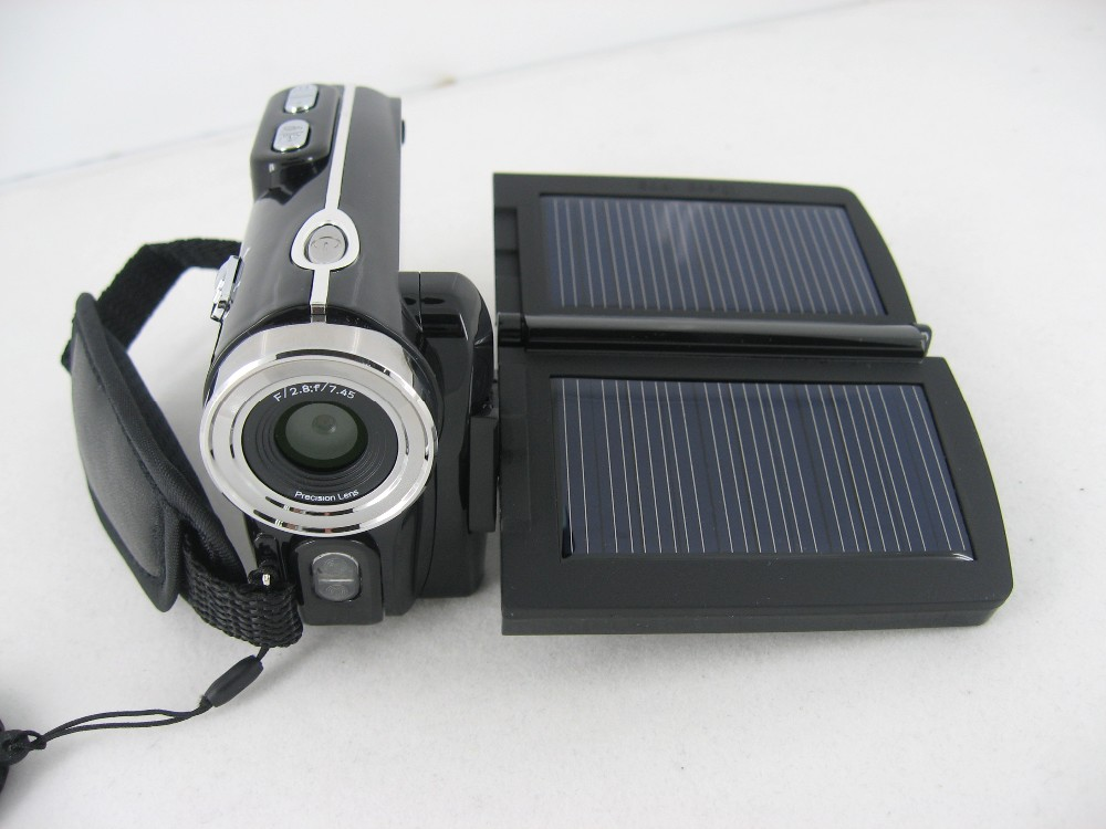 free shipping HD 12MP dual solar panel digital video camera with 8x digital zoom camcorder