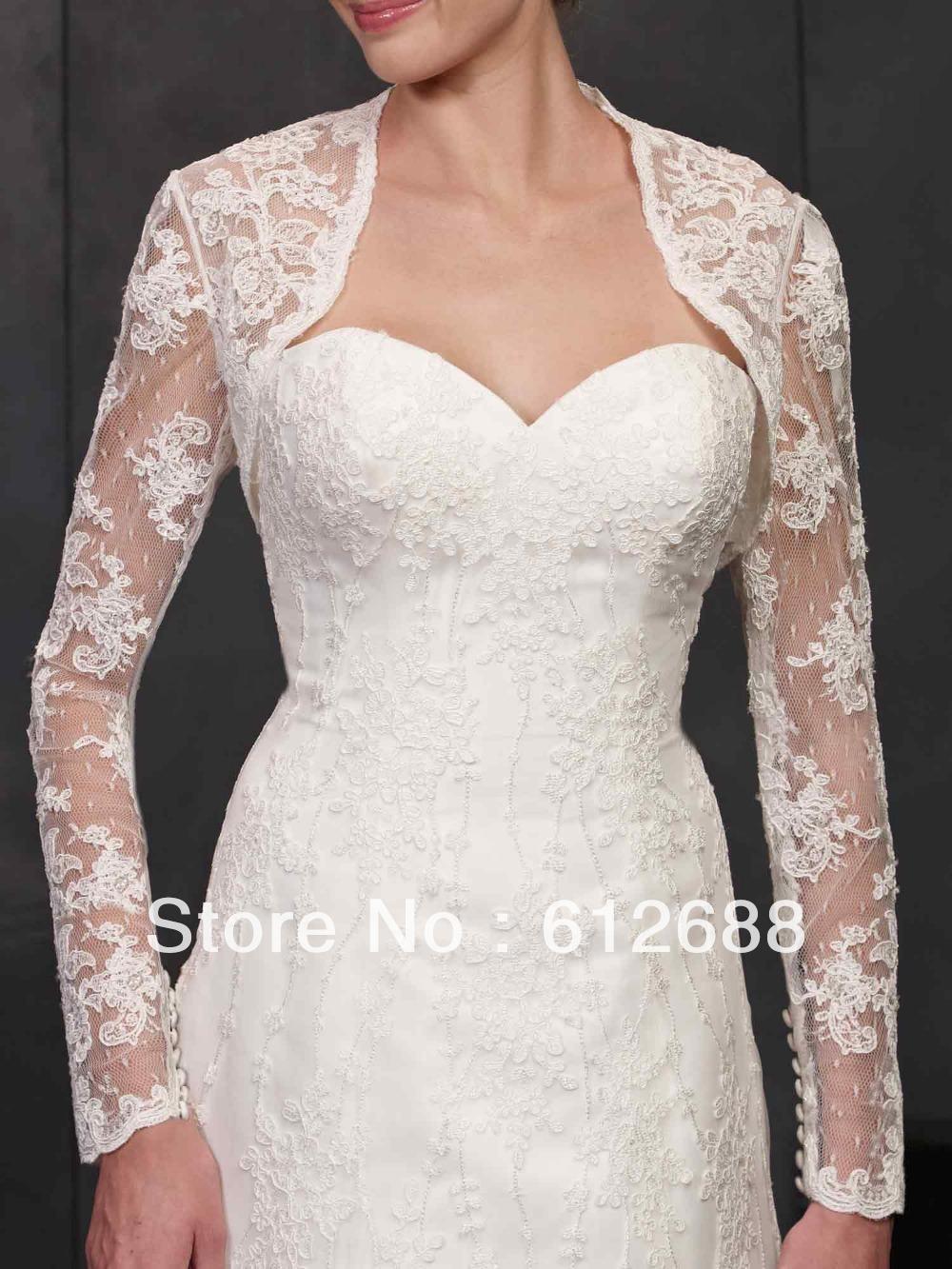 Appliques long sleeve bridal wedding bolero jacket wedding lace shrug