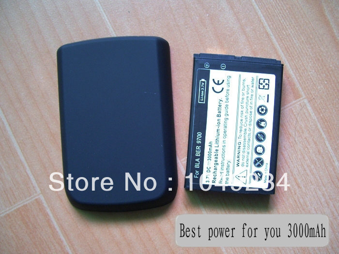 For Blackberry 9700 Extended battery with back cover 3000mAh replacement mobile phone battery 100pcs/lot(China (Mainland))