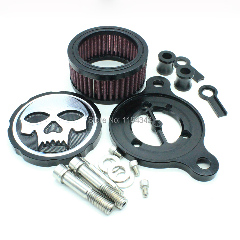 High Quality Motorcycle Skull Air Cleaner Intake Filter for Harley Davidson Sportster XL883 XL1200 2004 to 2014(China (Mainland))