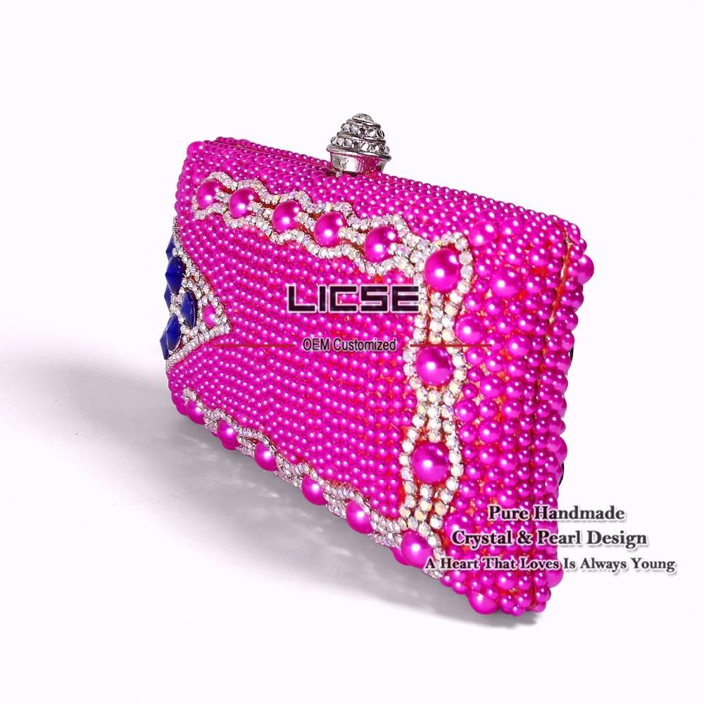 LICSE Women Handbags 2016 Rose Perfect Rose Diamonds Purse Wedding Evening Clutches Women Chain Bags Luxury Designers Tote Bag(China (Mainland))