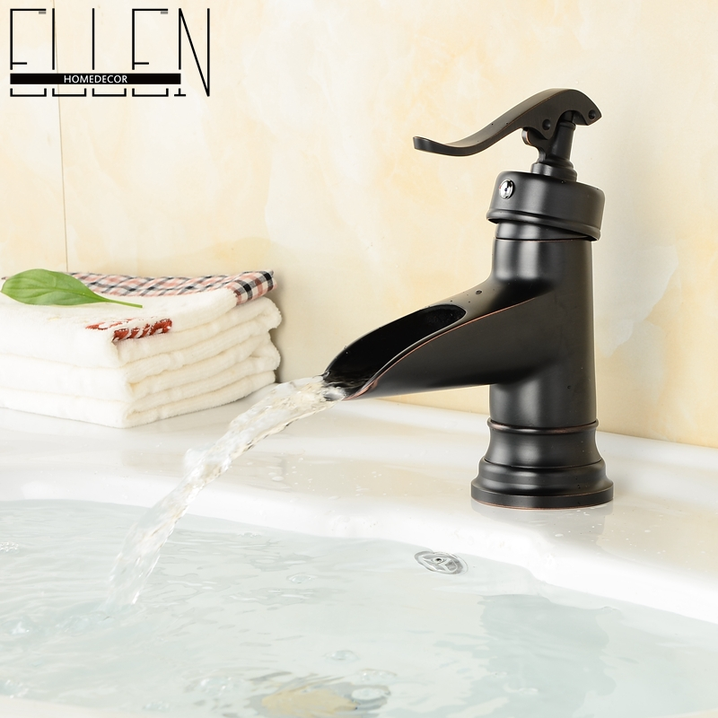 Bathroom black faucet copper oil rubbed bronze waterfall faucets single handle single hole sink tap mixer(China (Mainland))
