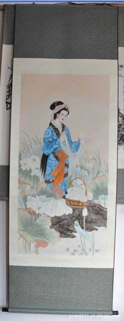So Beautiful Chinese Handicraft Article of Silk Scroll Painting,Chinese Beauty YH-10 For Ethnic Chinese Gifts,100*30,Hot sale