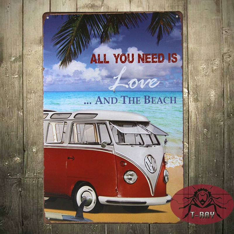 All you need is love and the beach painting Tin Sign Bar pub Garage home Wall Decor Retro Metal Art Poster B-08(China (Mainland))