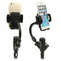 Dual USB Cigarette Lighter Car Charger Universal Mobile Phone Mount Stand Holder for iPhone 5S 5C 5 for Samsung S3 S4 S5 Nexus 5