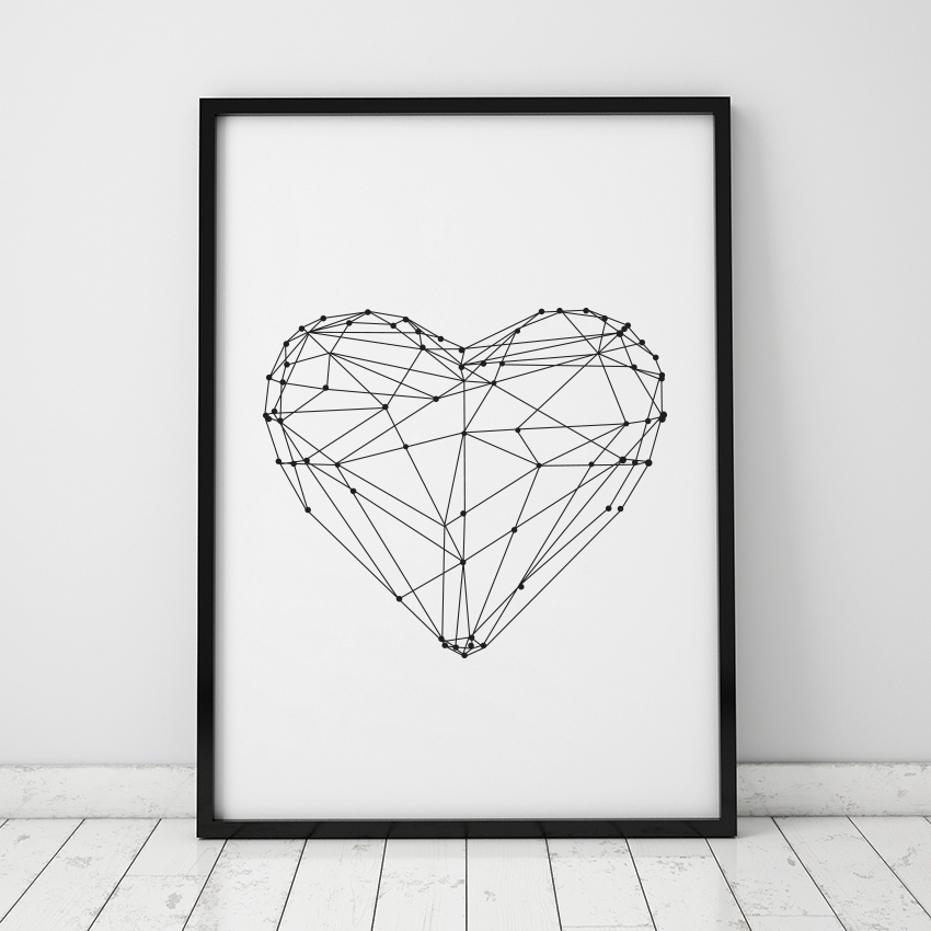 Drawing Lines In Jcanvas : Heart shape canvas art print wall pictures for home