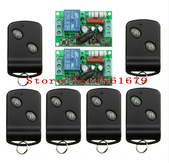 RF Wireless Remote Control AC 220 V 10 A 1 channel 2 Receiver +6 Transmitter Learning code simple operation(China (Mainland))