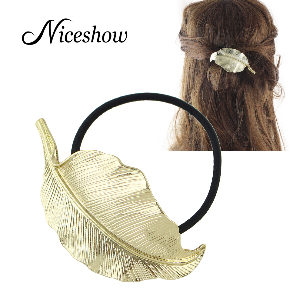 2016 Hot Punk Style Hairwear Black Elastic Rope Gold Metal Leaf Headbands Hair Jewelry for Fashion Lady(China (Mainland))