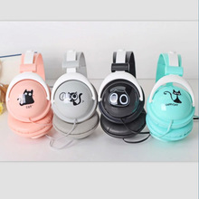 2016 cartoon cat Headphone with Mic for Iphone 5 5s 6 6plus girls stereo earphone mobile phone headset kids headband IX19