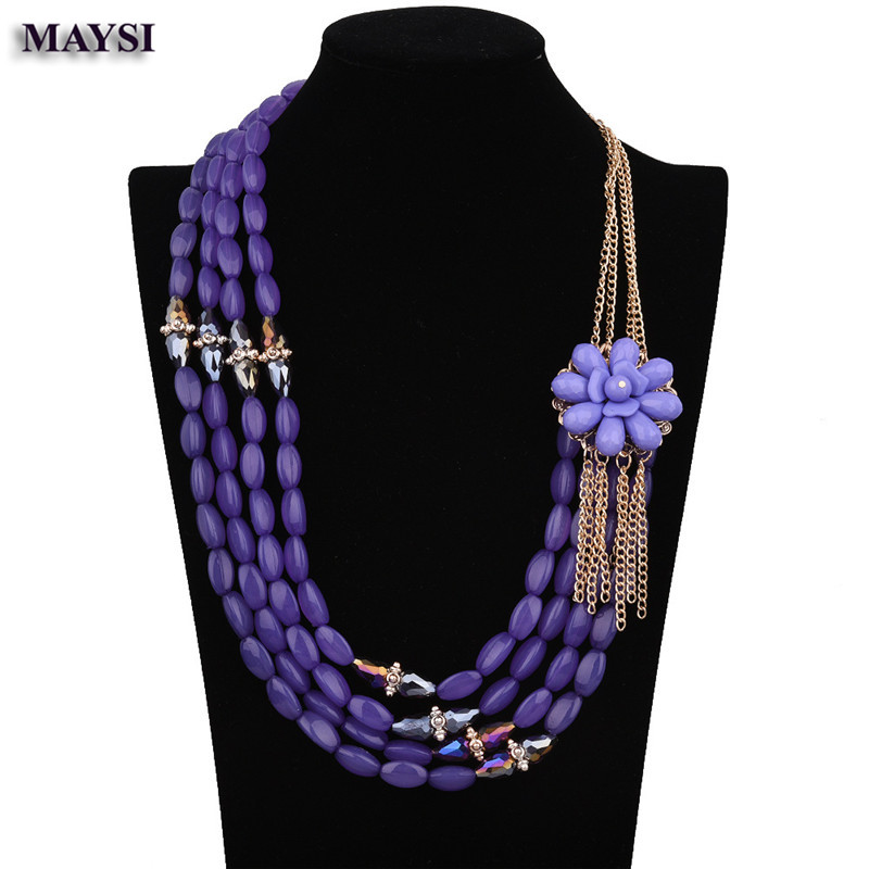 Bohemia Design Fashion Flower Necklaces Women Vintage Carving Alloy Bead Multiple Statement Necklaces NC
