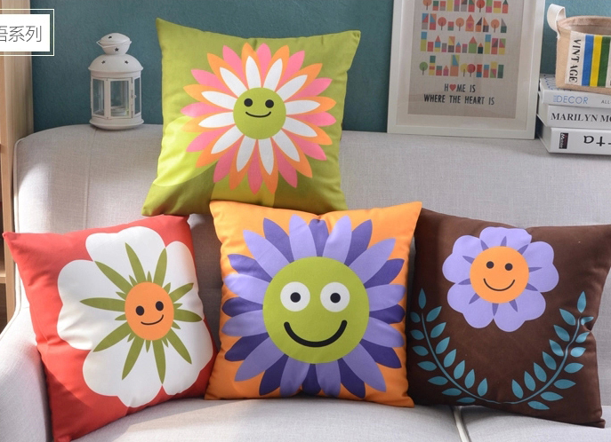 Sunflower Cushion Covers Smile Pillow Cases 45X45cm Sofa Pillowcease Soft Pillow Covers Car Couch Decoration Gift(China (Mainland))