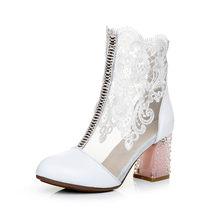 GKTINOO Giày của Phụ Nữ Ren Da Bò Chính Hãng Mùa Xuân Mùa Hè Giày Thời Trang Cao Gót Vòng Toe Mid-Bê Khởi Động giày Cộng Với Kích Thước(China)