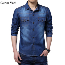 Buy 2017 New Cotton Brand High Long Sleeve Casual Shirt Slim Denim Shirts Men Solid Color Jeans Shirts Dress Blue Shirt 5XL for $16.19 in AliExpress store