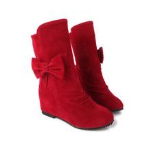 ARMARIO Nueva Moda Negro Marrón Rojo Mujeres Mitad de la Pantorrilla Martin Botas de Nieve Zapatos de las señoras Tacones Bajos Bowtie AD-1 Plus Gran tamaño 13 30 49(China (Mainland))