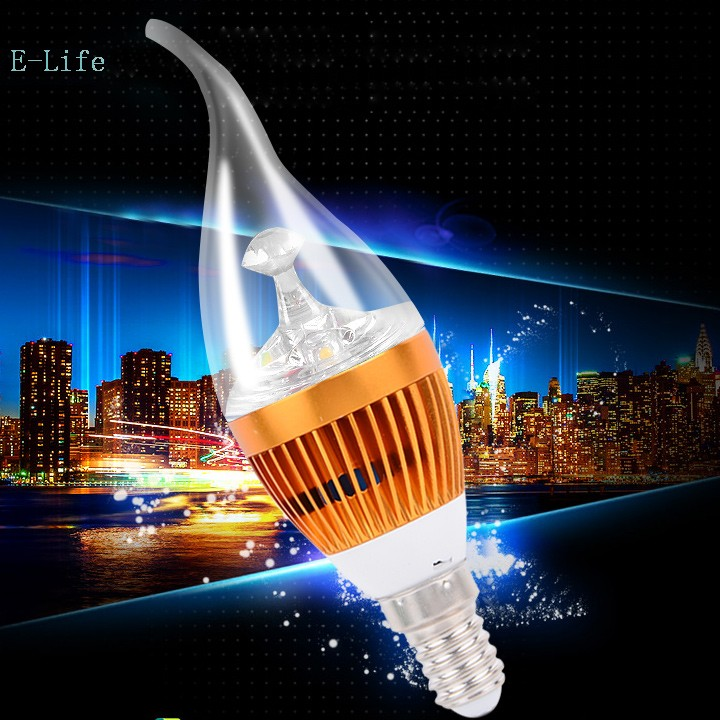 Free Shipping ULTRA BRIGHT golden lines E14 3w White/Cool white High Power pulled tails LED Lights YM(China (Mainland))