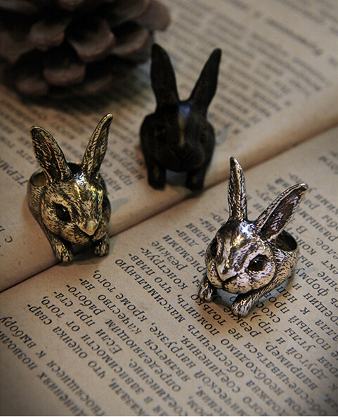 Wholesale Big Head Retro Rabbit Ring Cute Hare Ring Women's Bunny Ring--12Pcs/Lot(Black/Antique Silver/Antique Bronze 3 Colors)(China (Mainland))
