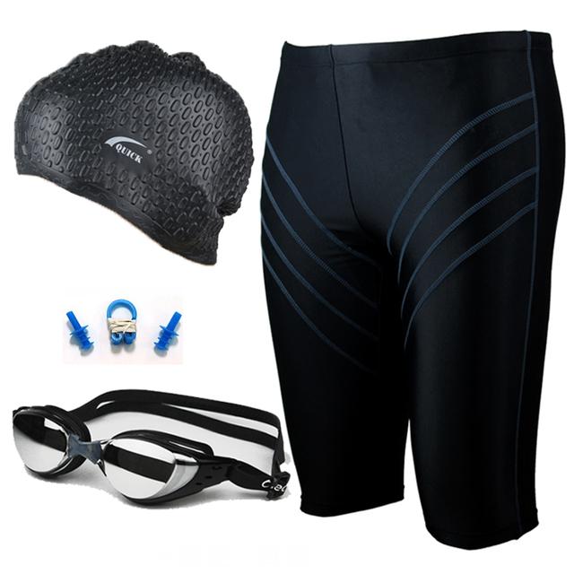 Free shipping~~Male swimming trunks plating goggles drop swimming cap nose clip heatshrinked swimwear