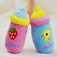 Cute milk Bottle Plush pet dog cat Sound squeakers squeaky Toy for small dog Chihuahua dog