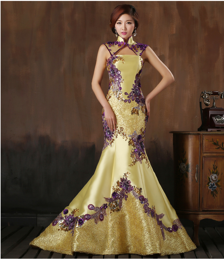 Buy 2016 chinese style blonde wedding for Asian inspired wedding dress
