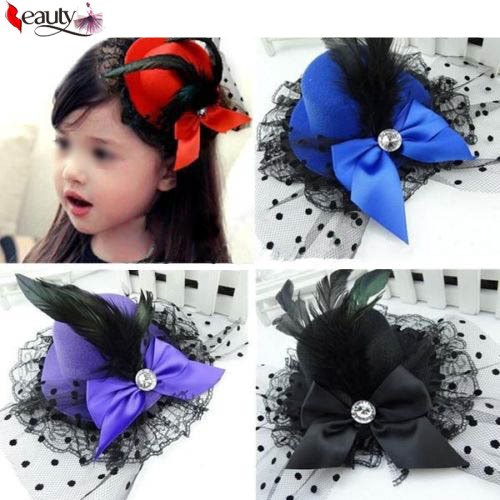 1 pcs Lady Mini Feather Rose Top Hat Cap Lace Fascinator Hair Clip Costume Hair Accessories 4 Colors for your choice(China (Mainland))