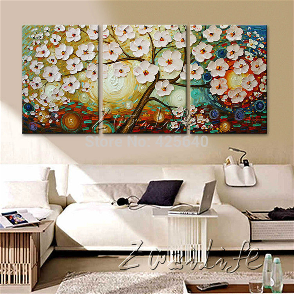 Buy oil painting 3 panel 3 piece canvas for Wall art sets for living room
