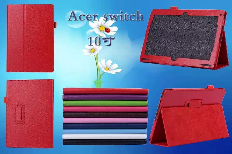 Litchi Grain Folio Cover PU Leather Case For Acer Aspire Switch 10 Tablet 10.1 inch Case Cover(China (Mainland))