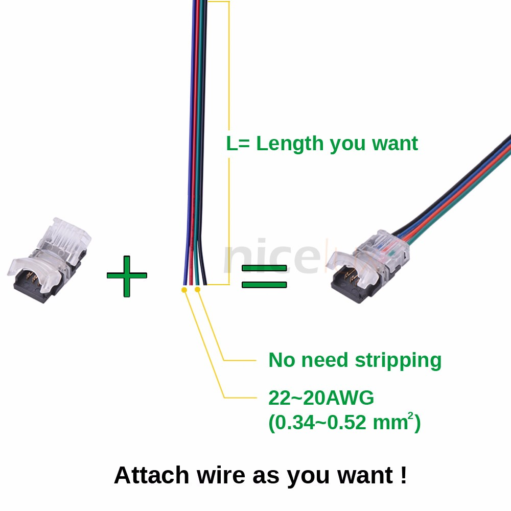 RGB LED Connector 4 Pin for 10mm Waterproof LED Strip Light 5050 RGB Connector, Strip to Wire Connection