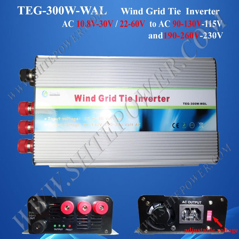 Wind Grid Tie Inverter 300W, 3phase 10.5-30V, to AC 90V-140V or 190-260v switch, 50Hz or 60Hz, Pure Sine Wave Inverter(China (Mainland))