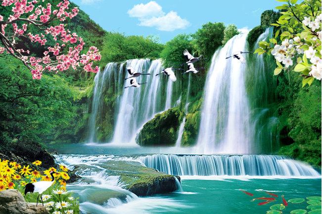 3d Gro 223 En Wandbild Landschaft Wasserfall Pflaume Kran Tv