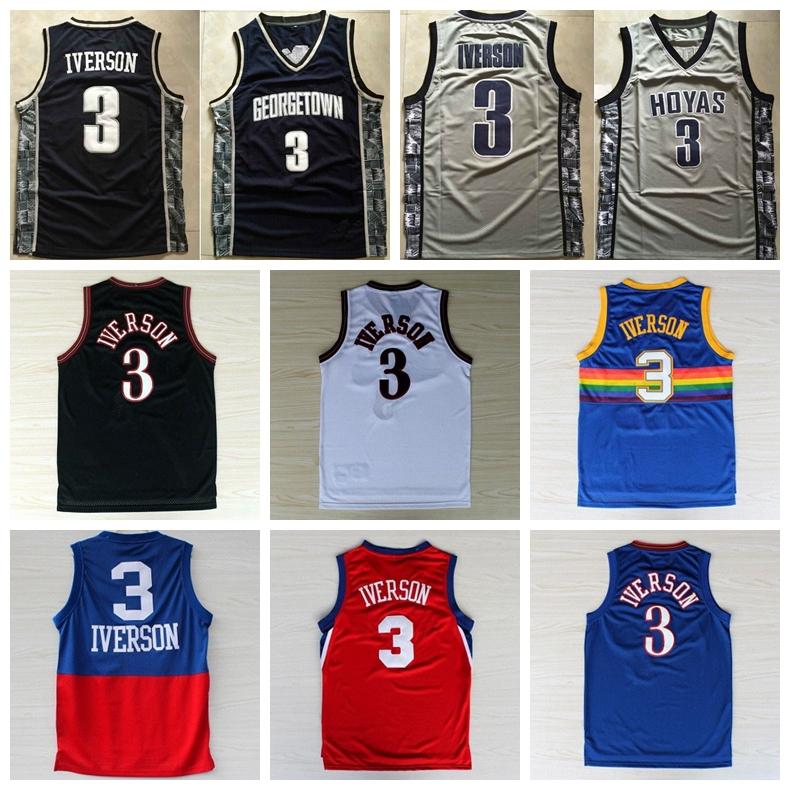 Philadelphia Allen Iverson Jersey 3 Georgetown Hoyas Jerseys NCAA College Basketball Throwback MESH Rainbow Denver Shirt Black(China (Mainland))