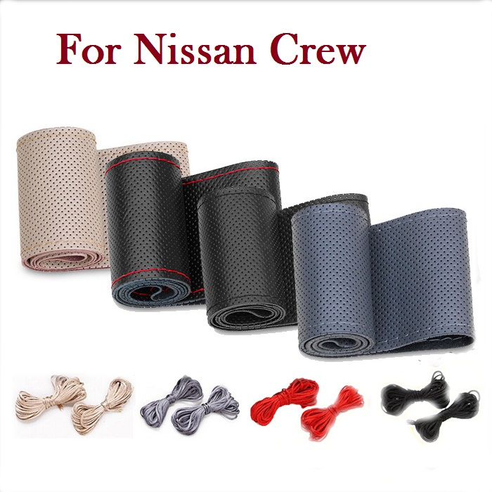 New PU Car Steering Wheel Leather Cover With Needles and Thread for Nissan Crew(China (Mainland))