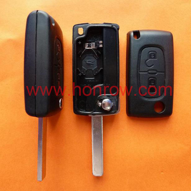 Uncut For Peugeot 307 blade 2 buttons flip remote key shell ( VA2 Blade -  2Button - With battery place ) (No Logo) &Car Keys