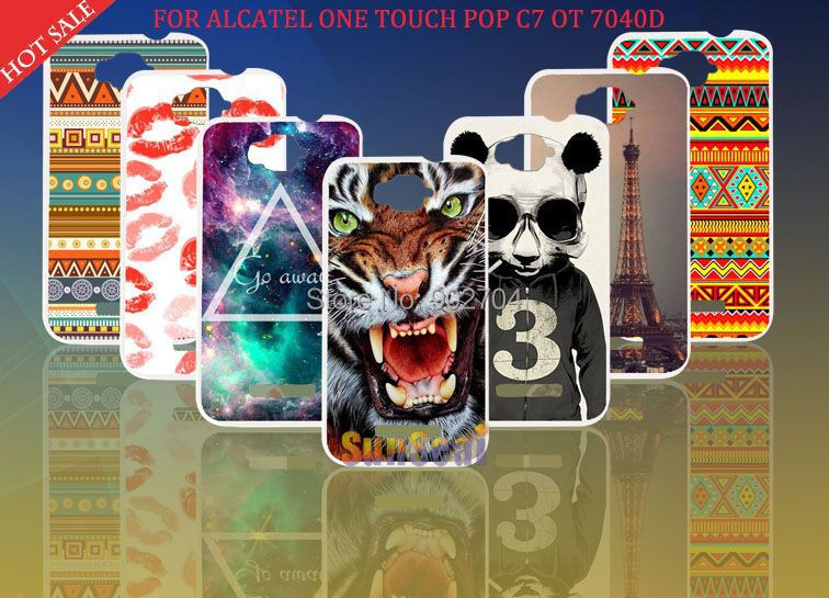 Alcatel One Touch POP C7 OT 7041D Case Aztec Eiffel Tower Lips Tiger Cat Deer Panda Hard Cover Cell Phone - Sunseai Official Store store