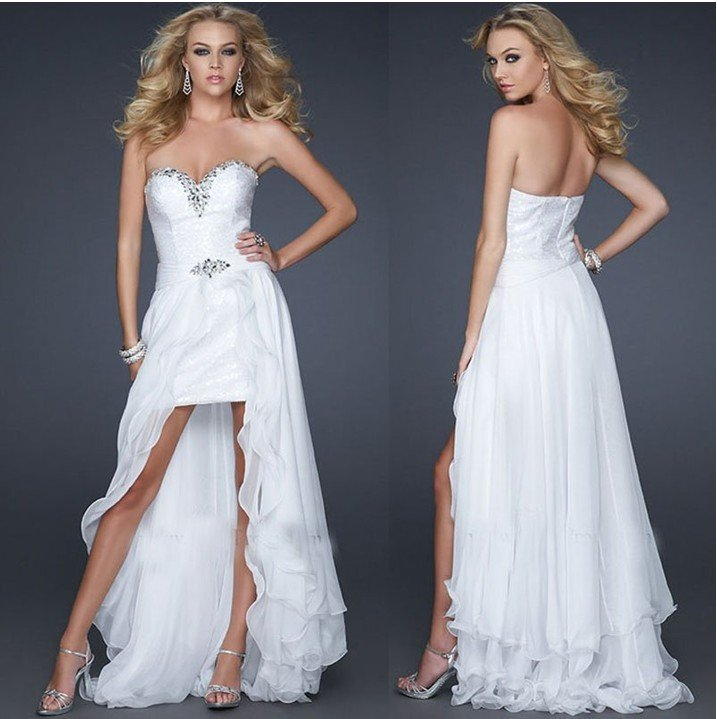 White Chiffon Front Short And Long Back Asymmetrical Prom Dress 2012 High Low